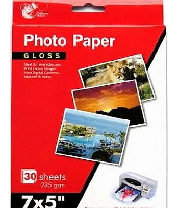 7 x 5`` Gloss Photo Paper, 30 Sheets 235 gsm