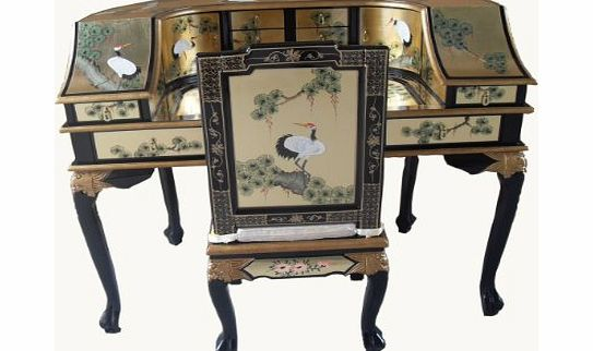 China warehouse direct gold leaf desk w chair oriental for Oriental furniture warehouse