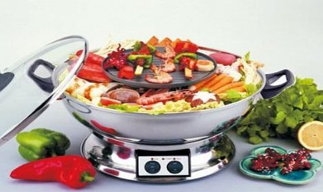 chinatownshopping Electric Hotpot with BBQ Grill Multi Cooker