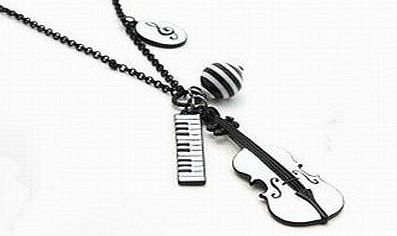 Aokeshen 1 Pcs Hot Fashion Ladys Violin amp; Noteamp;Keyboard Long Necklace Circumference 75cm Charm Pendant Vintage Coat Sweater Chain Rock Cosplay Gift Favour New Arrive