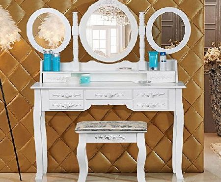 chinkyboo White Wooden Dressing Table with 3 Oval Mirror and Stool Bedroom Shabby Chic 7 Drawers Makeup Desk Sets