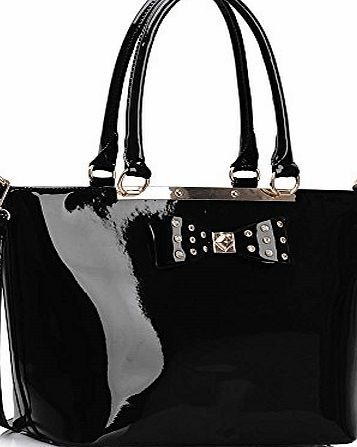 Chloe Ladies Designer Celebrity Bow Tote Bags Womens Hot Selling Trendy Handbag CWS00326A (Black)