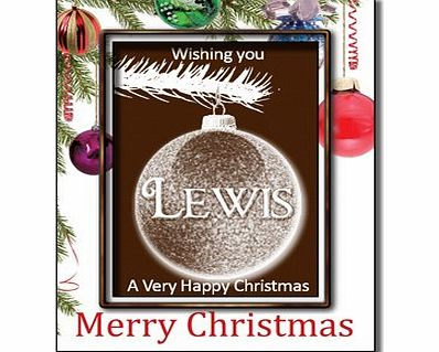 Chocmotif Christmas Chocolate Bauble card with Name - Lewis