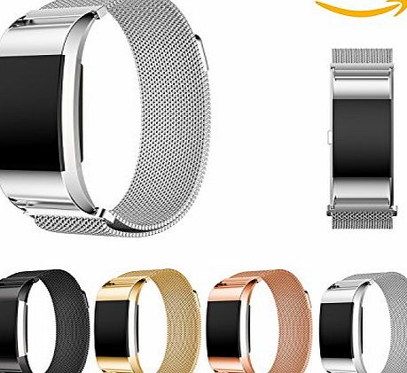 Chok Idea Fitbit Charge 2 Strap Band Replacement,Magnet Lock Milanese Loop Stainless Steel Bracelet Strap Band for Fitbit Charge 2 (6.1``-8.4``) - Sliver