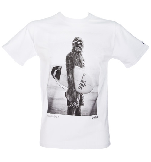 Chunk Mens White Star Wars Wookie Surfer T-Shirt product image
