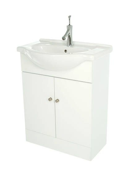 The Angelina vanity unit comprises white vanity unit with basin and two door cabinet. Tap not - CLICK FOR MORE INFORMATION