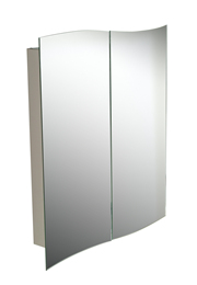 Stylish wave mirrors cover ample storage shelves.  Featuring: High grade 0.5mm stainless steel - CLICK FOR MORE INFORMATION