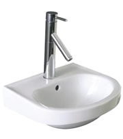 Highly attractive d shaped wash basin. Ideal for cloakrooms and en-suites. 395mm width. 350mm depth. 190mm height - CLICK FOR MORE INFORMATION