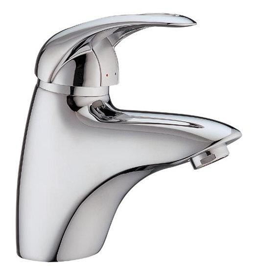 Curvaceous single lever basin mixer taps with cut out detail on lever suitable for high or low - CLICK FOR MORE INFORMATION