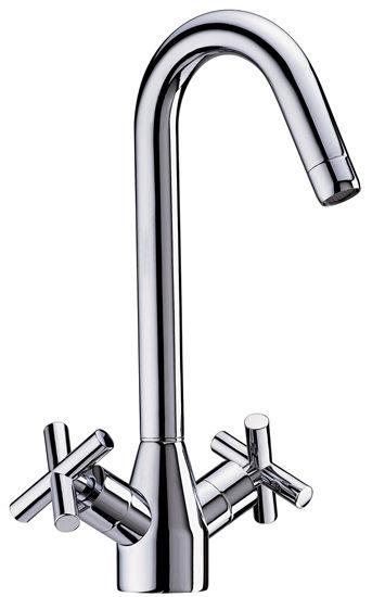 Attractive cross handled basin mixer for use in the kitchen.  High quality mixer suitable for high - CLICK FOR MORE INFORMATION