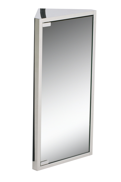 Mirrored door corner storage unit. Made from high quality 0.5mm polished stainless steel. Spacious storage with shelved interior. Fitted with magnetic door catch. - CLICK FOR MORE INFORMATION