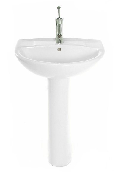 Hide those unsightly pipes with this highly attractive and superior quality wash basin and pedestal. Dimensions: 460mm depth 560mm width 860mm total height - CLICK FOR MORE INFORMATION