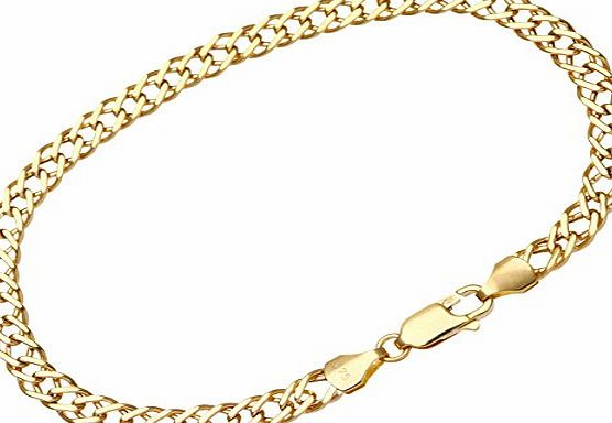 Citerna 9 ct Yellow Gold 2.3 g Fine Double Curb Bracelet of 19 cm/7.5 Inch Length and 5 mm Width