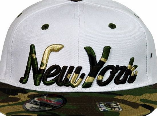 City Gang Snapback Mens Snapback Caps Retro Fitted Adjustable Army Camouflage Designer (White amp; Camo)