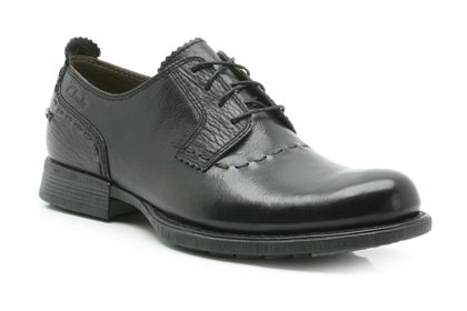 Clarks Dino Boss Leather Shoes Black