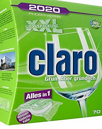 Claro  All in 1 - phosphate-free Eco Dishwasher tabs in the austerity package 70 Piece Pack