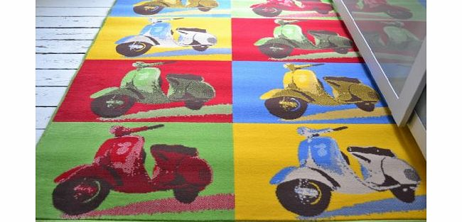 Classic Cool Scooter rug Scooter rug, 120x160cm. Retro Hard wearing Funky colours product image