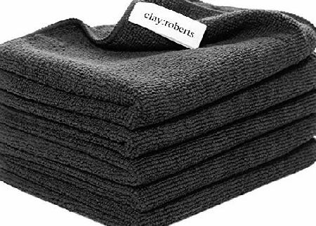 Clay:Roberts Microfibre Cloths 5 Pack Black, Clean LED TV, Computer, iPad, Stainless Steel Appliances, Alloy Wheels, Worktops, Windows, UPVC. Clay:Roberts Ultra-fine Microfibre Cloths