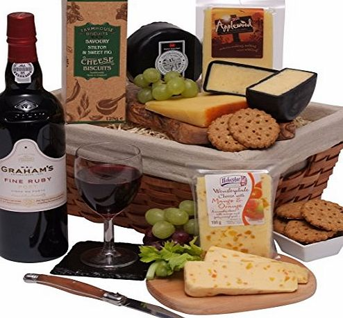 Clearwater Hampers Luxury Port amp; Cheese Gift Hamper - The Perfect Hamper For Him - Selection of Fresh Cheese With Fine Ruby Port