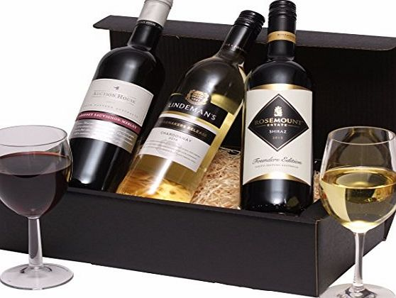 Clearwater Hampers Mixed Trio Wine Hamper - Classic Australian Wine Gift - Three Wines 2 x Red Wine, 1 x White Wine