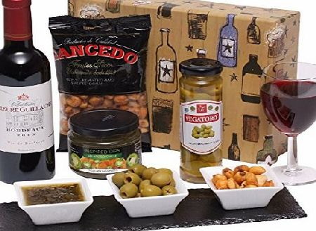 Clearwater Hampers Wine and Snacks Gift Box Hamper - Red Wine with Savoury Snacks Presented in a Luxury Gift Box
