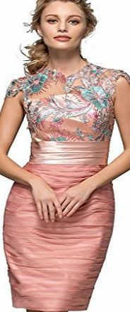 CLOCOLOR Womens Short Sheath Pleated Appliques Cowl Neck Cocktail Dress Prom Gowns pink uk8