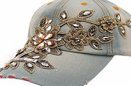 Clode® 1PC New Vogue Women Diamond Flower Baseball Cap Summer Style Lady Jeans Hats (E)
