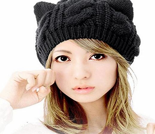 Clode® Women Beanie,Clode® Ladies Winter Knit Crochet Braided Cat Ears Beret Beanie Ski Knitted Hat Cap (Black)