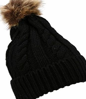 Clode® Womens Beanie,Clode® Ladies Girls Winter Warm Chunky Braid Wool Knitted Crochet Beanie Fleece with Large Fur Pom Pom Cap SKI Snowboard Bobble Hats (Black)