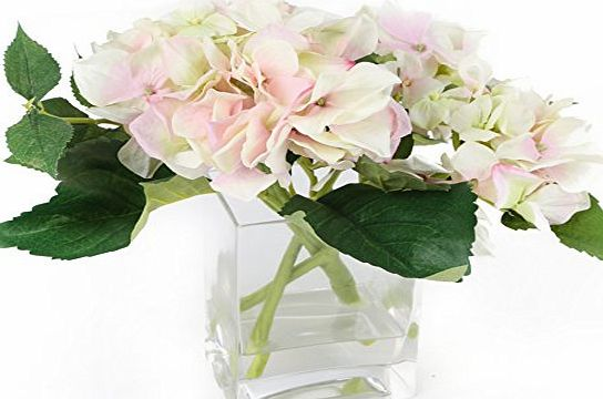 Closer to Nature (I-Fulfilment) Floral Elegance Artificial 18cm Green and Pink Hydrangea Arrangement - Artificial Silk Floral Arrangement and Display Range
