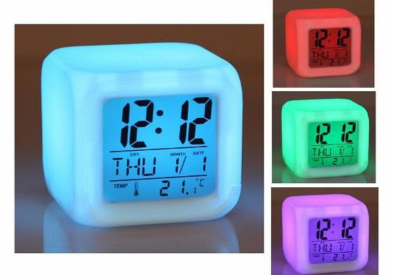 Cube 7 color LED CLOCK with LCD digital display and alarm clock , Calendar , Alarm function and integrated thermometer different colors , in exchange , Multi-function watch multi-function alarm clock