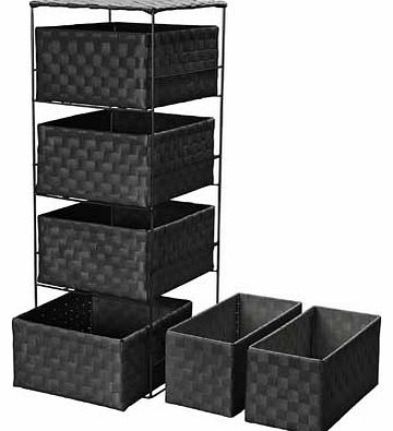 4 + 2 Drawer Storage Baskets - Black