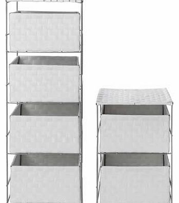 4 + 2 Drawer Storage Baskets - White