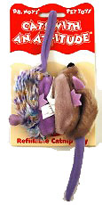 Company of Animals Dr Noys Cat Toy - Two Mice: Purple Frost and Grey product image