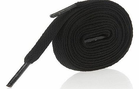 Concept4u Black Shoe Laces / String - Flat Laces for Shoes, Football Trainers, High Tops & Boots 140cm product image
