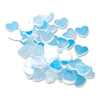 Blue iridescent heart confetti