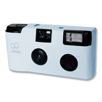 Disposable camera, pale blue