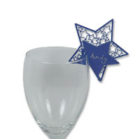 Electric blue star glass place card pk of 10
