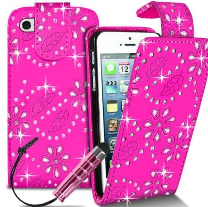 Connect Zone TM Ipod Touch 5 5th Gen Pink PU Leather Stylish Crystal Diamond Bling Flip Case With Screen Protector   Polishing Cloth