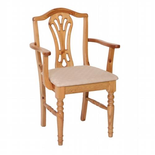 Country Pine Upholstered Carver Dining Chair - Large x2