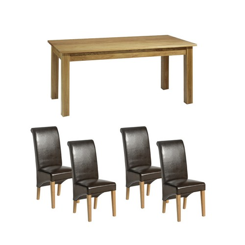 Contemporary Oak Dining Set (150cm Table + 4