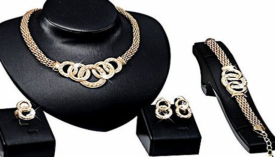 Contever Attactive Elegant Party Necklace Earring Bracelet Ring Jewelry Set