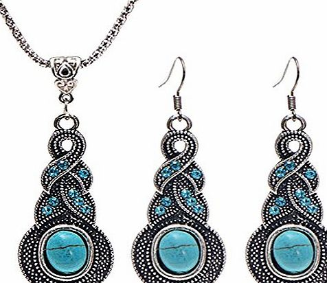 Contever Attactive Jewellery Vintage Tibetan Turquoise Necklace Earrings Set for Women - Oval Shaped