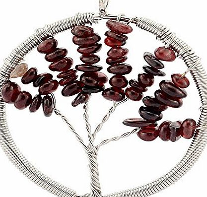 Contever Jewellery Crystal Element Garnet Pendant Necklace Shaped Tree of Life