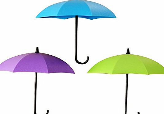 Contever Pack of 3 Pcs Umbrella Shape Self Adhesive Hook - Duty Wall Hooks for Bathroom Kitchen Wall Towel Hooks (Green Blue Purpel)