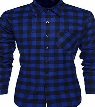Coofandy Mens Casual Plaid Long Sleeve Shirt Slim Fit T-shirt, Size M