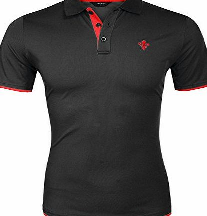 Coofandy Mens Casual Short Sleeve T-shirt Contrast Color Polo Shirts (Large, Black)