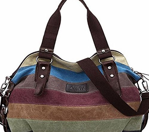 Coofit Multi-Color Striped Canvas Totes Handbag Womens Hobos and Shoulder Bags