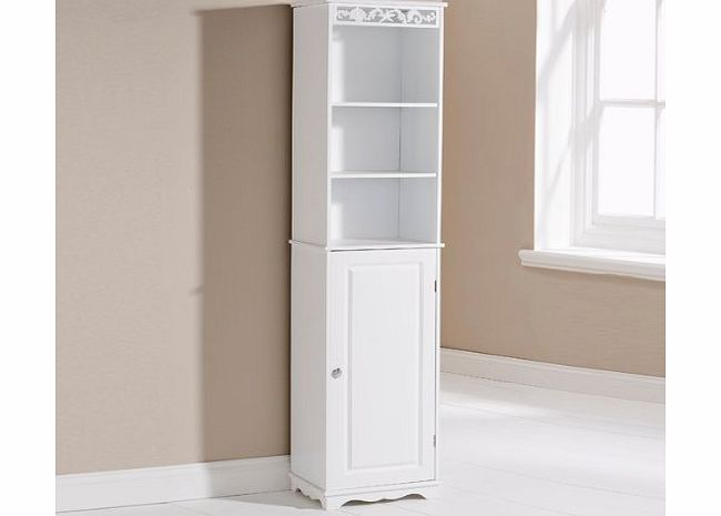 Coral Tall Bathroom Cabinet White Wooden Floor Standing