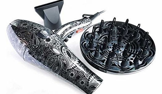 Rare Couture Silver Paisley 2000W Professional Salon Turbo Hair Dryer With Accessories